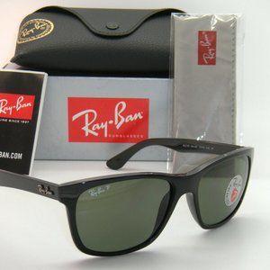 Ray-Ban Shiny Black  Green Polarized Sunglasses